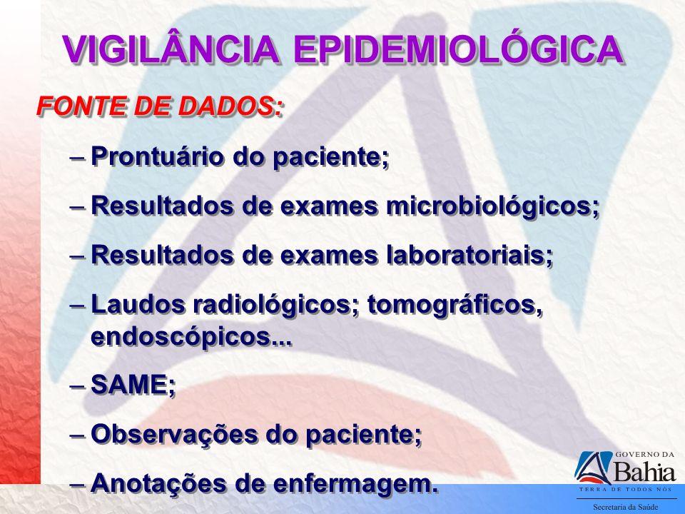 VIGILÂNCIA EPIDEMIOLÓGICA FONTE DE DADOS: –Prontuário do paciente; –Resultados de exames microbiológicos; –Resultados de exames laboratoriais; –Laudos radiológicos; tomográficos, endoscópicos...
