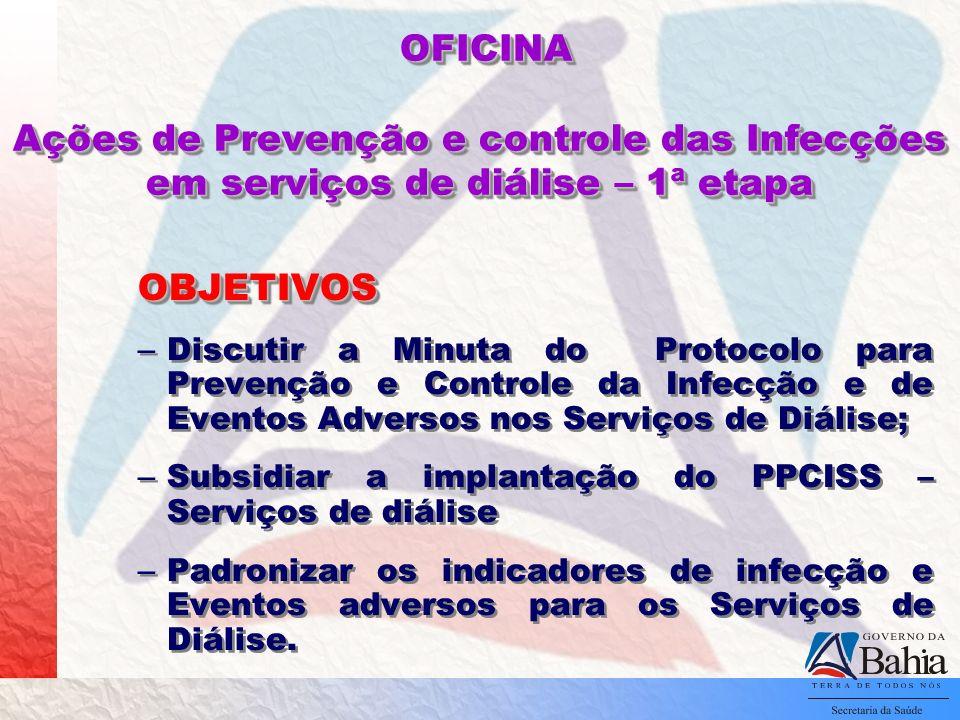 OFICINA Ações de Prevenção e controle das Infecções em serviços de diálise – 1ª etapa OFICINA Ações de Prevenção e controle das Infecções em serviços