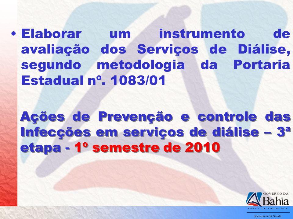 Elaborar um instrumento de avaliação dos Serviços de Diálise, segundo metodologia da Portaria Estadual nº. 1083/01 Ações de Prevenção e controle das I
