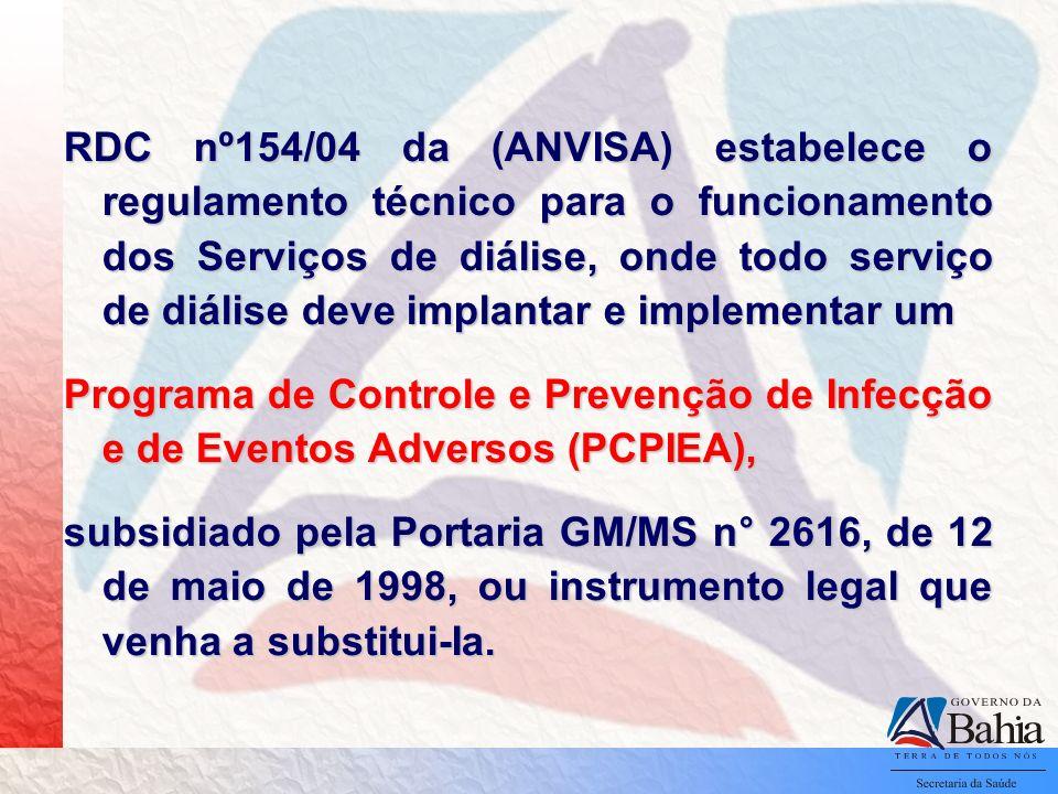 RDC nº154/04 da (ANVISA) estabelece o regulamento técnico para o funcionamento dos Serviços de diálise, onde todo serviço de diálise deve implantar e implementar um Programa de Controle e Prevenção de Infecção e de Eventos Adversos (PCPIEA), subsidiado pela Portaria GM/MS n° 2616, de 12 de maio de 1998, ou instrumento legal que venha a substitui-Ia.