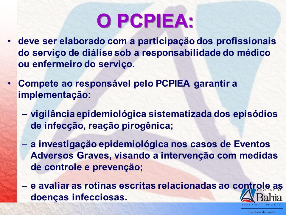 O PCPIEA: deve ser elaborado com a participação dos profissionais do serviço de diálise sob a responsabilidade do médico ou enfermeiro do serviço. Com