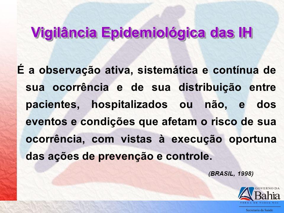 Vigilância Epidemiológica das IH É a observação ativa, sistemática e contínua de sua ocorrência e de sua distribuição entre pacientes, hospitalizados