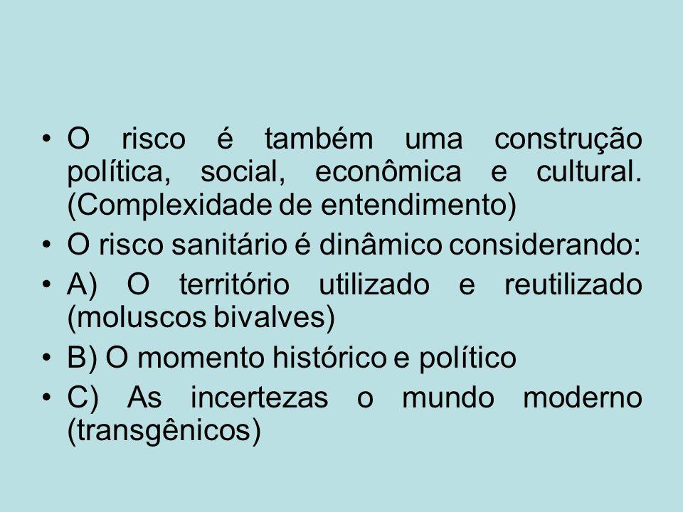 O risco é também uma construção política, social, econômica e cultural. (Complexidade de entendimento) O risco sanitário é dinâmico considerando: A) O