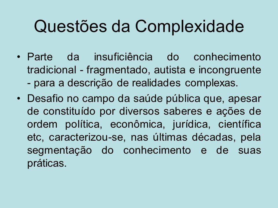 Questões da Complexidade Parte da insuficiência do conhecimento tradicional - fragmentado, autista e incongruente - para a descrição de realidades com