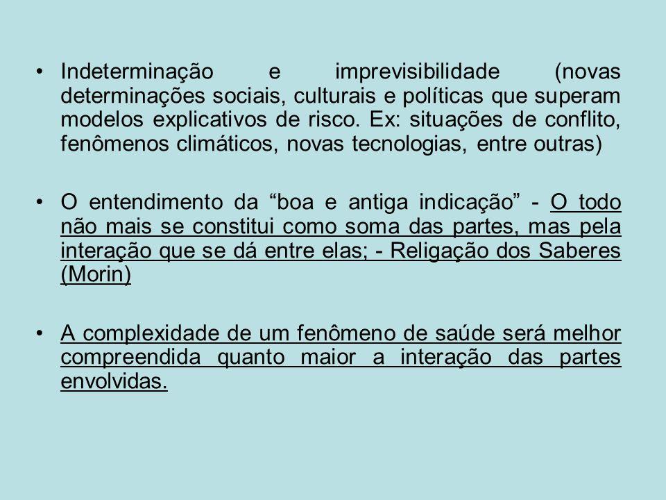 Indeterminação e imprevisibilidade (novas determinações sociais, culturais e políticas que superam modelos explicativos de risco. Ex: situações de con