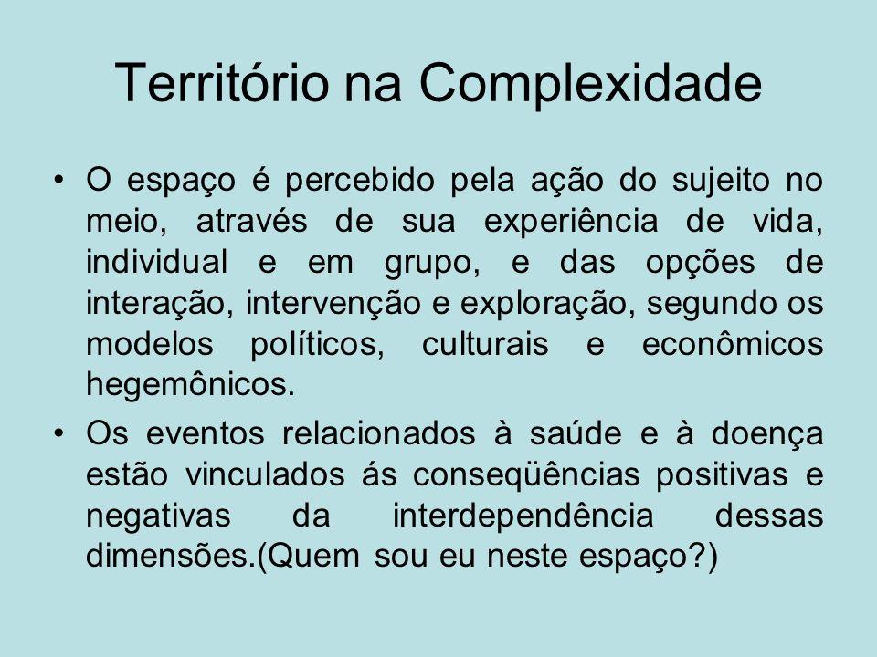 Quadro representativo da idéia central de COMPLEXIDADE, TERRITÓRIO e RISCO PALAVRAS-CHAVETERRITÓRIOCOMPLEXIDADERISCO EspaçoGlobalizaçãoIncerteza Cultura localMundializaçãoInstabilidade GlobalizaçãoFragmentaçãoModernidade ComplexidadeDependênciaControle RiscoInteraçãoNão intencional InteraçãoIncertezaInsegurança Território utilizadoOrdem e desordemGlobalização Horizontalidades e verticalidades RiscoDesigualdade