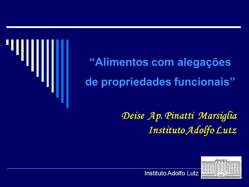 Alimentos com alegações de propriedades funcionais Deise Ap. Pinatti Marsiglia Instituto Adolfo Lutz