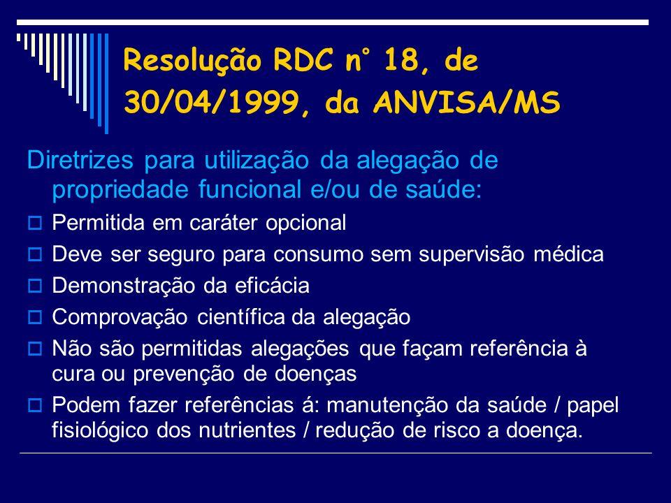 Resolução RDC n° 18, de 30/04/1999, da ANVISA/MS Diretrizes para utilização da alegação de propriedade funcional e/ou de saúde: Permitida em caráter o