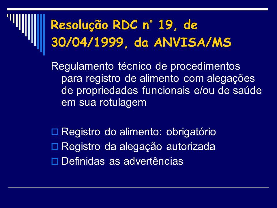 Resolução RDC n° 19, de 30/04/1999, da ANVISA/MS Regulamento técnico de procedimentos para registro de alimento com alegações de propriedades funciona