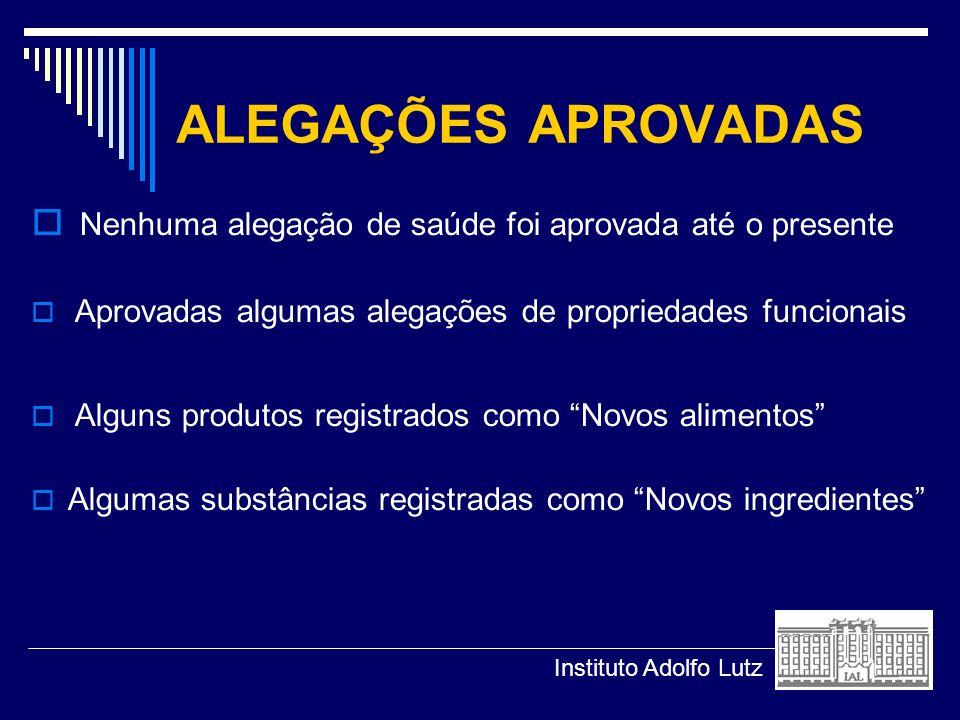 ALEGAÇÕES APROVADAS Nenhuma alegação de saúde foi aprovada até o presente Aprovadas algumas alegações de propriedades funcionais Alguns produtos regis