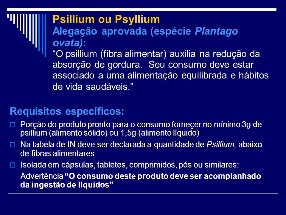 Psillium ou Psyllium Alegação aprovada (espécie Plantago ovata): O psillium (fibra alimentar) auxilia na redução da absorção de gordura. Seu consumo d