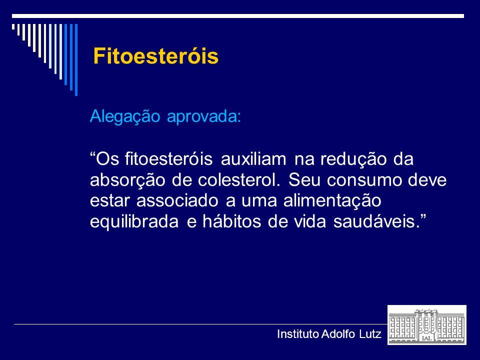 Fitoesteróis Alegação aprovada: Os fitoesteróis auxiliam na redução da absorção de colesterol. Seu consumo deve estar associado a uma alimentação equi