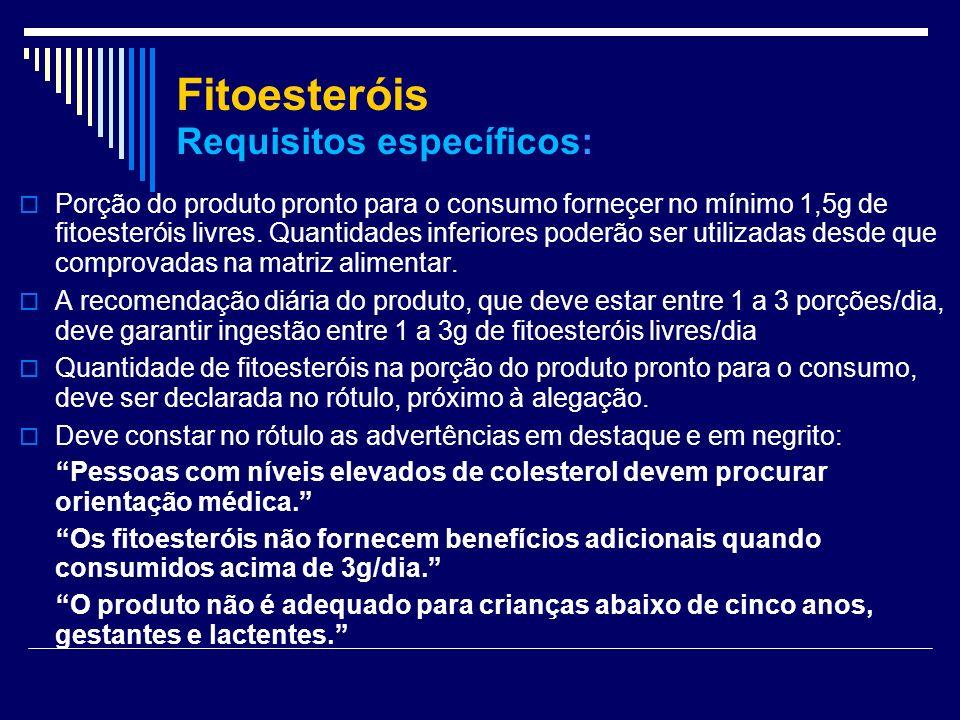 Fitoesteróis Requisitos específicos: Porção do produto pronto para o consumo forneçer no mínimo 1,5g de fitoesteróis livres. Quantidades inferiores po