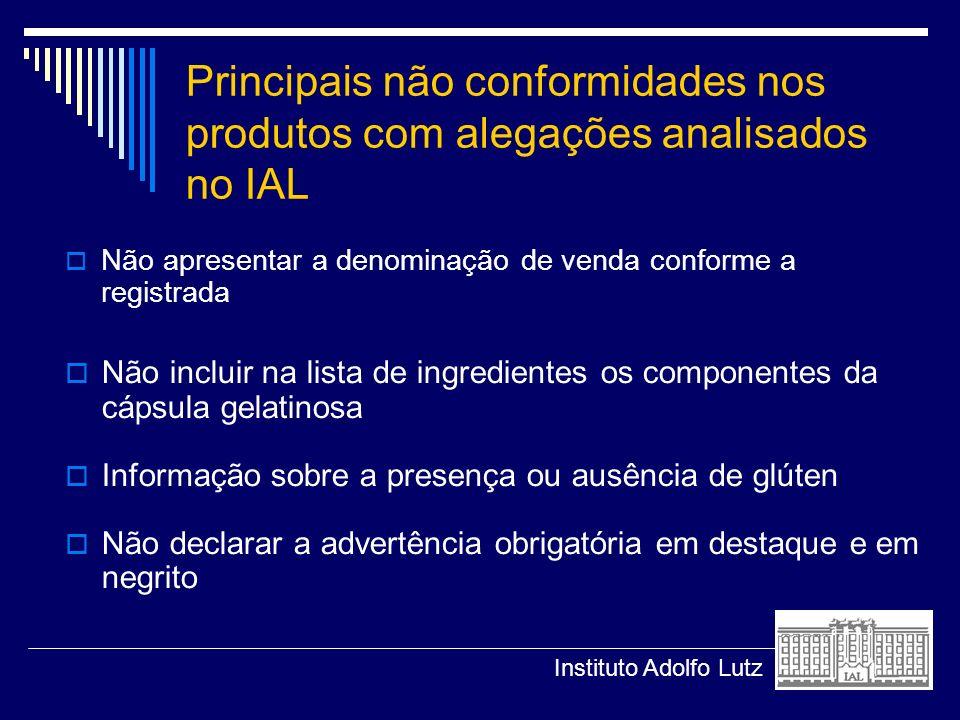 Principais não conformidades nos produtos com alegações analisados no IAL Não apresentar a denominação de venda conforme a registrada Não incluir na l
