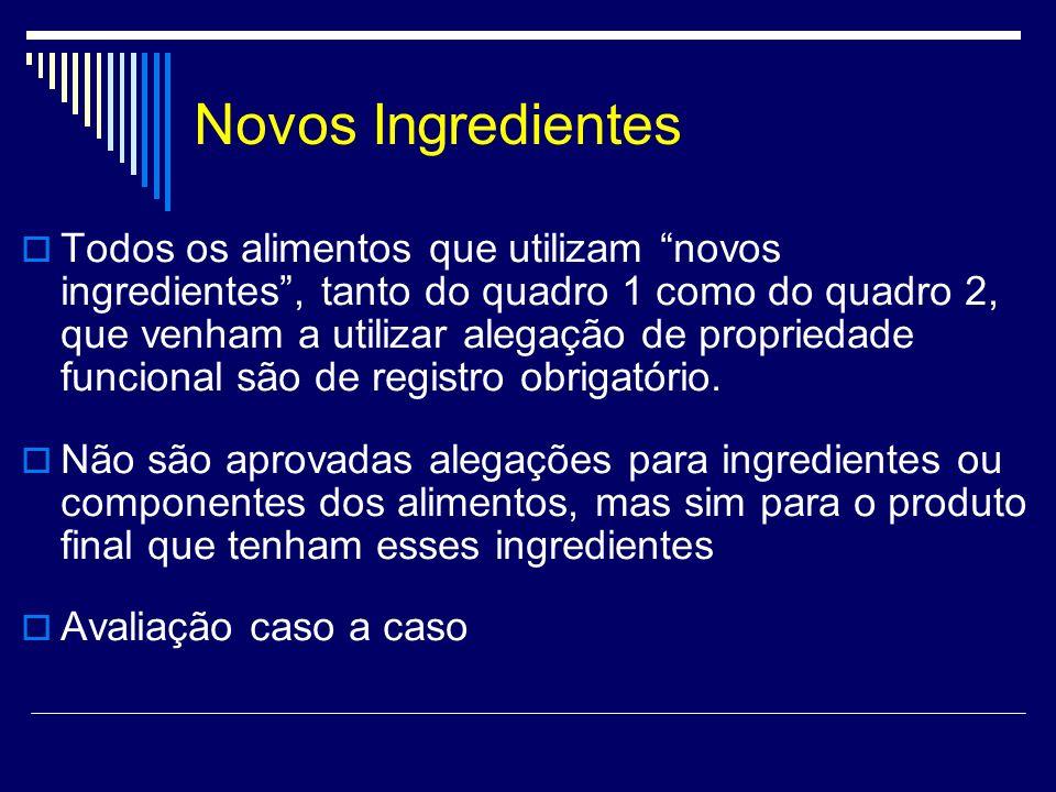 Novos Ingredientes Todos os alimentos que utilizam novos ingredientes, tanto do quadro 1 como do quadro 2, que venham a utilizar alegação de proprieda