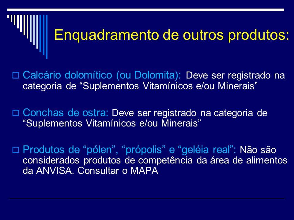 Enquadramento de outros produtos: Calcário dolomítico (ou Dolomita): Deve ser registrado na categoria de Suplementos Vitamínicos e/ou Minerais Conchas