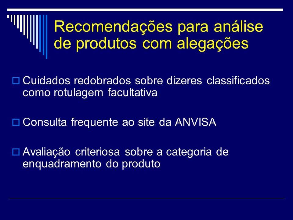 Recomendações para análise de produtos com alegações Cuidados redobrados sobre dizeres classificados como rotulagem facultativa Consulta frequente ao