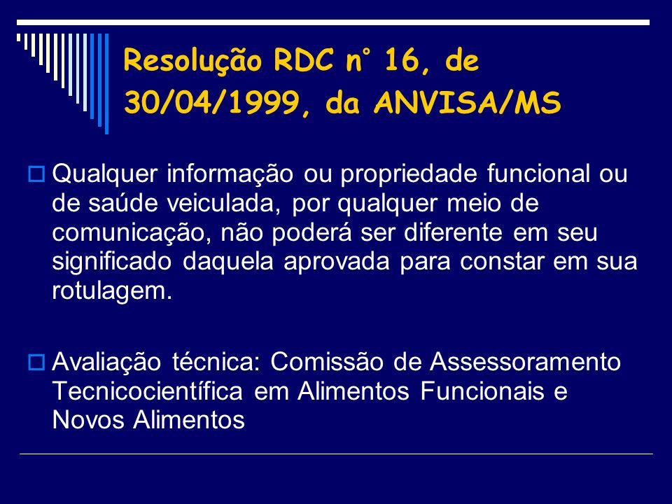 Resolução RDC n° 16, de 30/04/1999, da ANVISA/MS Qualquer informação ou propriedade funcional ou de saúde veiculada, por qualquer meio de comunicação,