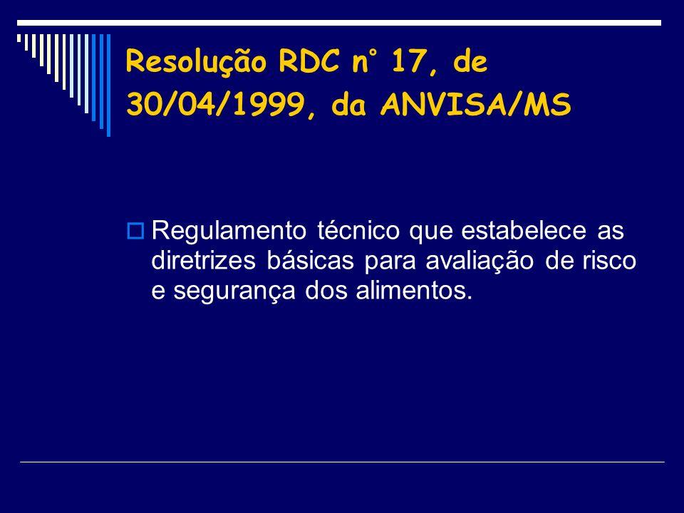 Resolução RDC n° 17, de 30/04/1999, da ANVISA/MS Regulamento técnico que estabelece as diretrizes básicas para avaliação de risco e segurança dos alim