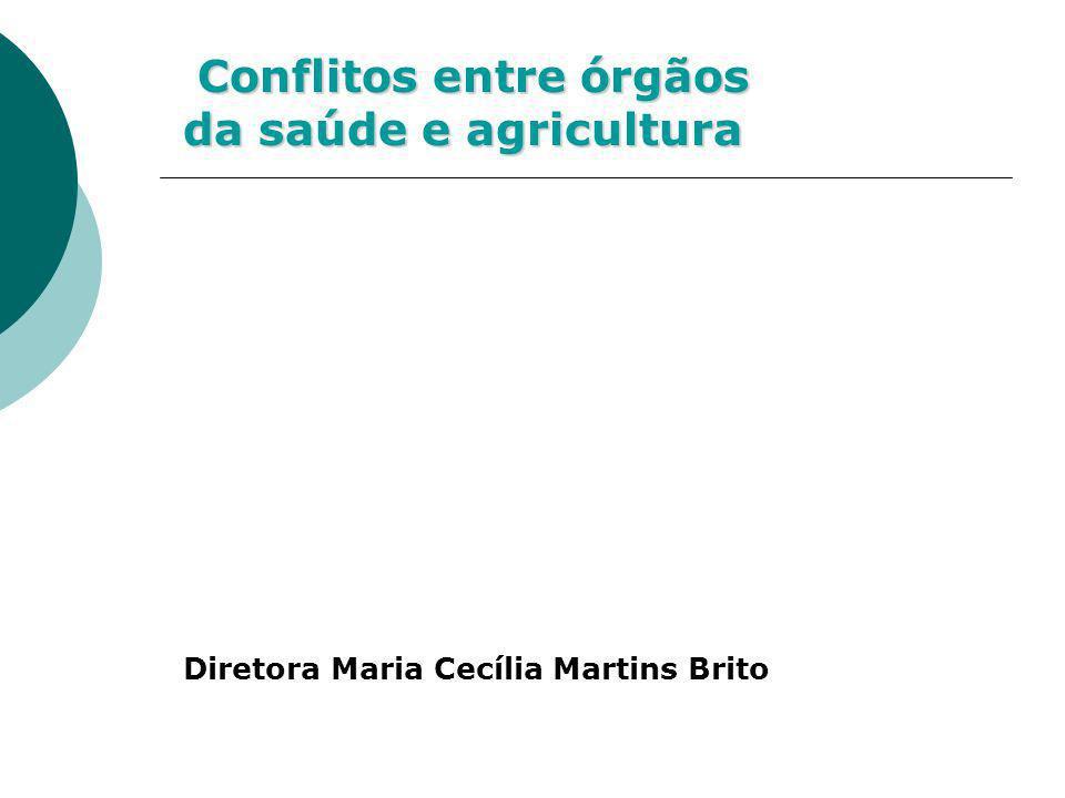 Conflitos entre órgãos da saúde e agricultura Conflitos entre órgãos da saúde e agricultura Diretora Maria Cecília Martins Brito