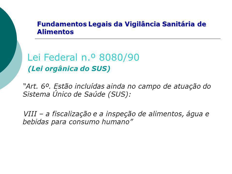 Fundamentos Legais da Vigilância Sanitária de Alimentos Lei Federal n.º 8080/90 (Lei orgânica do SUS) Art. 6º. Estão incluídas ainda no campo de atuaç