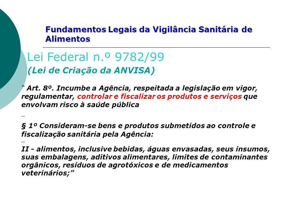 Fundamentos Legais da Vigilância Sanitária de Alimentos Lei Federal n.º 9782/99 (Lei de Criação da ANVISA) Art. 8º. Incumbe a Agência, respeitada a le