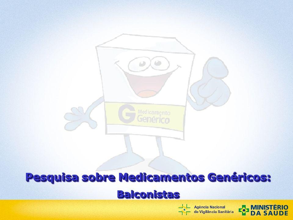 Agência Nacional de Vigilância Sanitária Pesquisa sobre Medicamentos Genéricos: Balconistas Balconistas