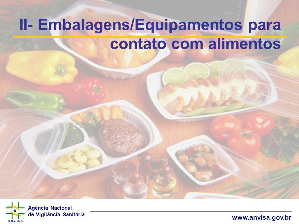 Agência Nacional de Vigilância Sanitária www.anvisa.gov.br II- Embalagens/Equipamentos para contato com alimentos