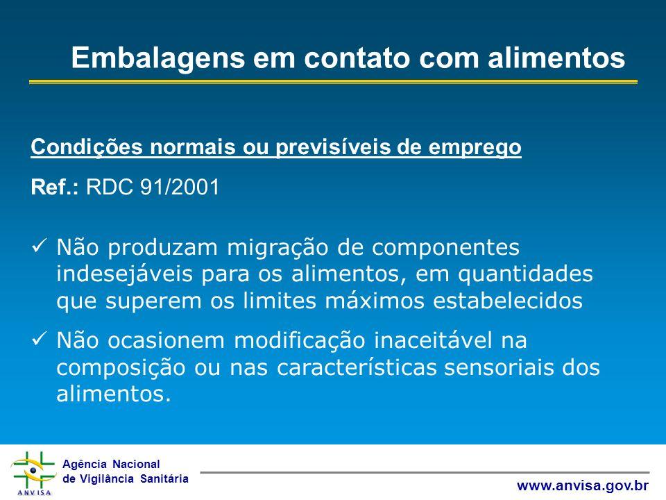 Agência Nacional de Vigilância Sanitária www.anvisa.gov.br Condições normais ou previsíveis de emprego Ref.: RDC 91/2001 Não produzam migração de comp