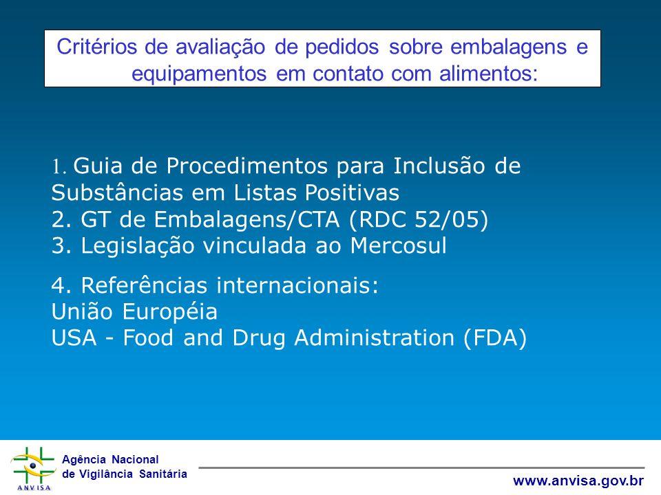Agência Nacional de Vigilância Sanitária www.anvisa.gov.br Critérios de avaliação de pedidos sobre embalagens e equipamentos em contato com alimentos: 1.