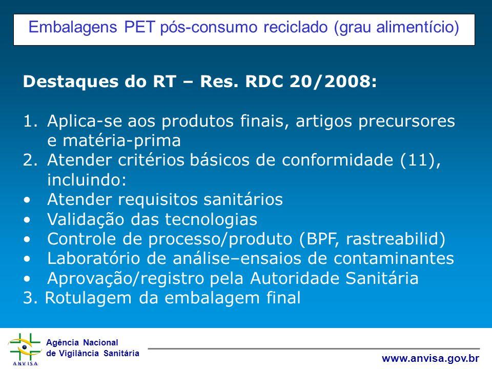 Agência Nacional de Vigilância Sanitária www.anvisa.gov.br Embalagens PET pós-consumo reciclado (grau alimentício) Destaques do RT – Res. RDC 20/2008: