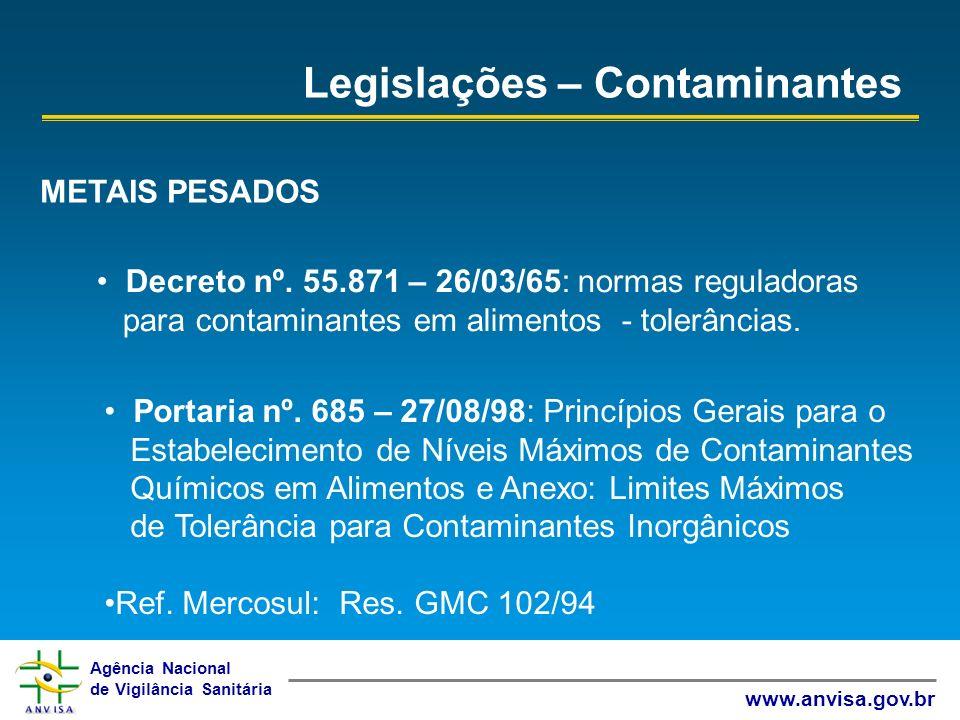 Agência Nacional de Vigilância Sanitária www.anvisa.gov.br Legislações – Contaminantes METAIS PESADOS Decreto nº. 55.871 – 26/03/65: normas reguladora