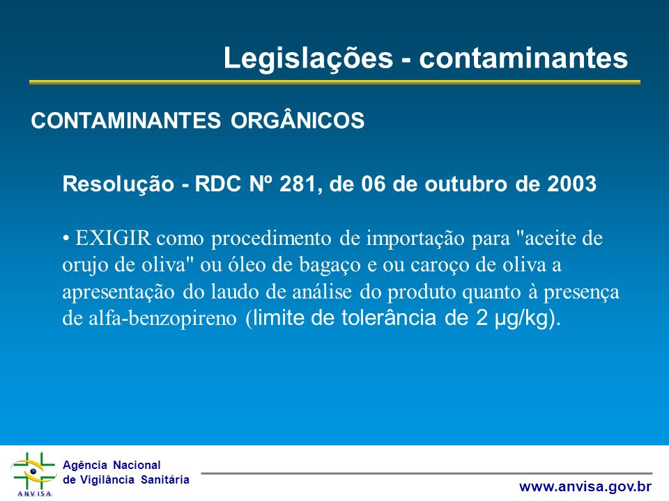 Agência Nacional de Vigilância Sanitária www.anvisa.gov.br Legislações - contaminantes CONTAMINANTES ORGÂNICOS Resolução - RDC Nº 281, de 06 de outubr