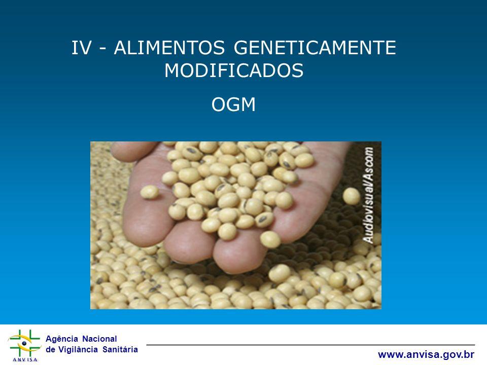 Agência Nacional de Vigilância Sanitária www.anvisa.gov.br IV - ALIMENTOS GENETICAMENTE MODIFICADOS OGM