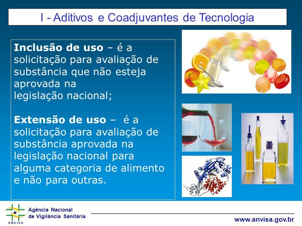 Agência Nacional de Vigilância Sanitária www.anvisa.gov.br I - Aditivos e Coadjuvantes de Tecnologia Inclusão de uso – é a solicitação para avaliação
