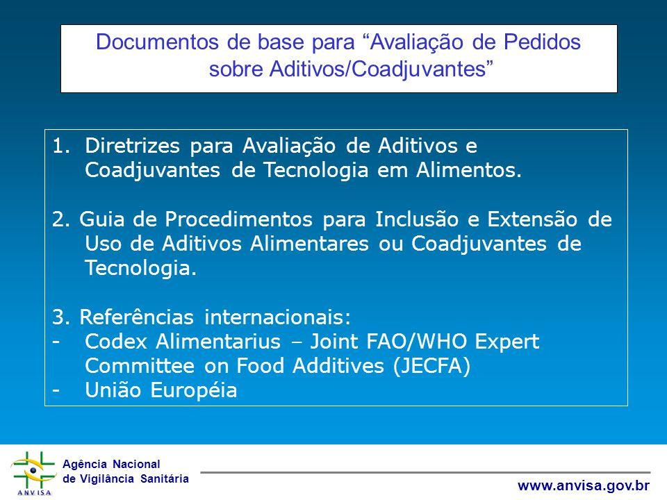 Agência Nacional de Vigilância Sanitária www.anvisa.gov.br Documentos de base para Avaliação de Pedidos sobre Aditivos/Coadjuvantes 1.Diretrizes para