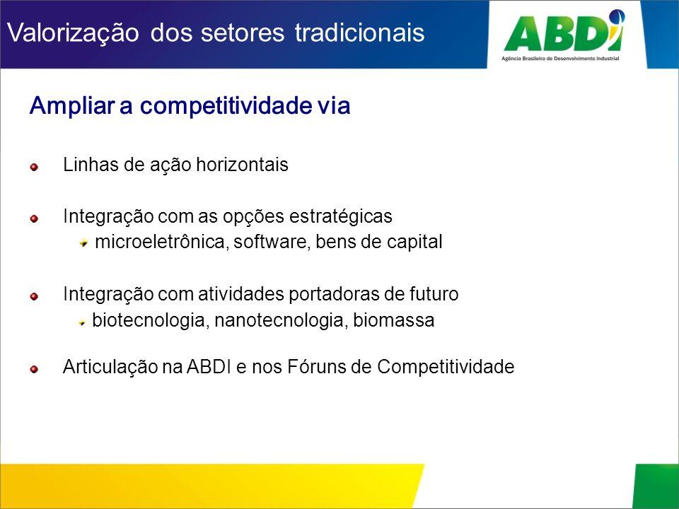 Ampliar a competitividade via Linhas de ação horizontais Integração com as opções estratégicas microeletrônica, software, bens de capital Integração c