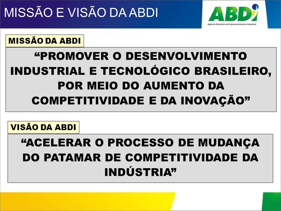 PROMOVER O DESENVOLVIMENTO INDUSTRIAL E TECNOLÓGICO BRASILEIRO, POR MEIO DO AUMENTO DA COMPETITIVIDADE E DA INOVAÇÃO MISSÃO DA ABDI MISSÃO E VISÃO DA
