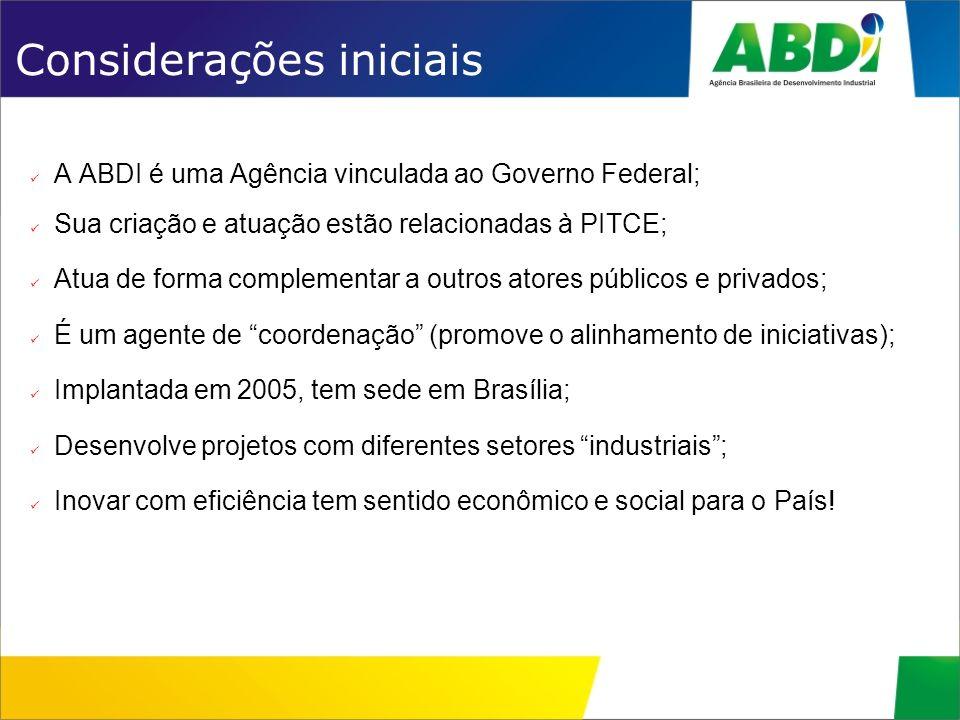 Considerações iniciais A ABDI é uma Agência vinculada ao Governo Federal; Sua criação e atuação estão relacionadas à PITCE; Atua de forma complementar