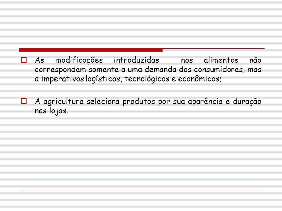 As modificações introduzidas nos alimentos não correspondem somente a uma demanda dos consumidores, mas a imperativos logísticos, tecnológicos e econô