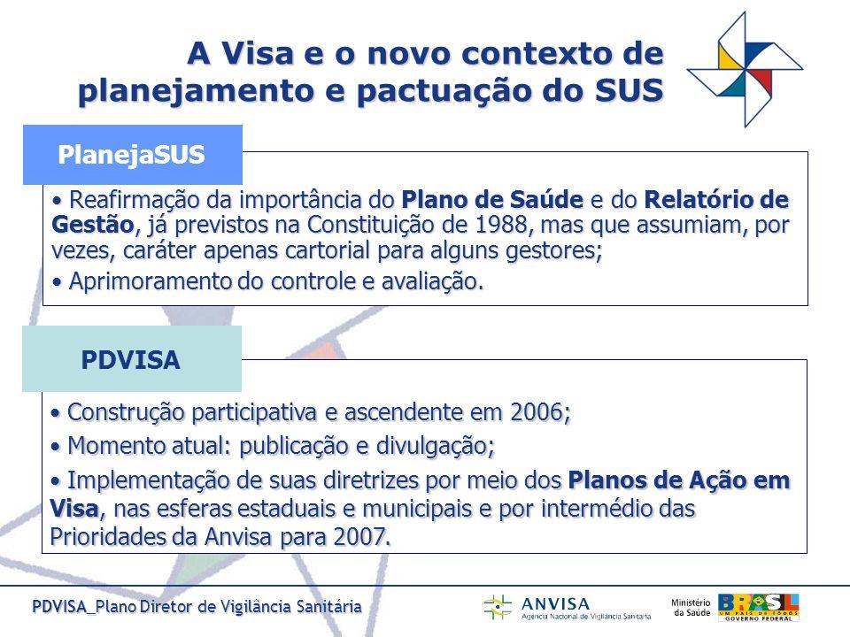 PDVISA_Plano Diretor de Vigilância Sanitária Reafirmação da importância do Plano de Saúde e do Relatório de Gestão, já previstos na Constituição de 19
