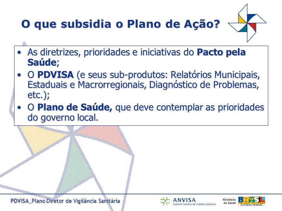 PDVISA_Plano Diretor de Vigilância Sanitária O que subsidia o Plano de Ação? As diretrizes, prioridades e iniciativas do Pacto pela Saúde;As diretrize