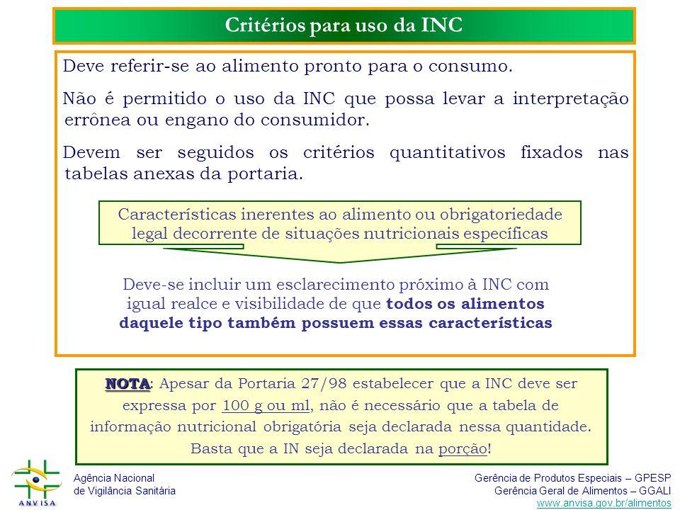Agência Nacional de Vigilância Sanitária Gerência de Produtos Especiais – GPESP Gerência Geral de Alimentos – GGALI www.anvisa.gov.br/alimentos Critér