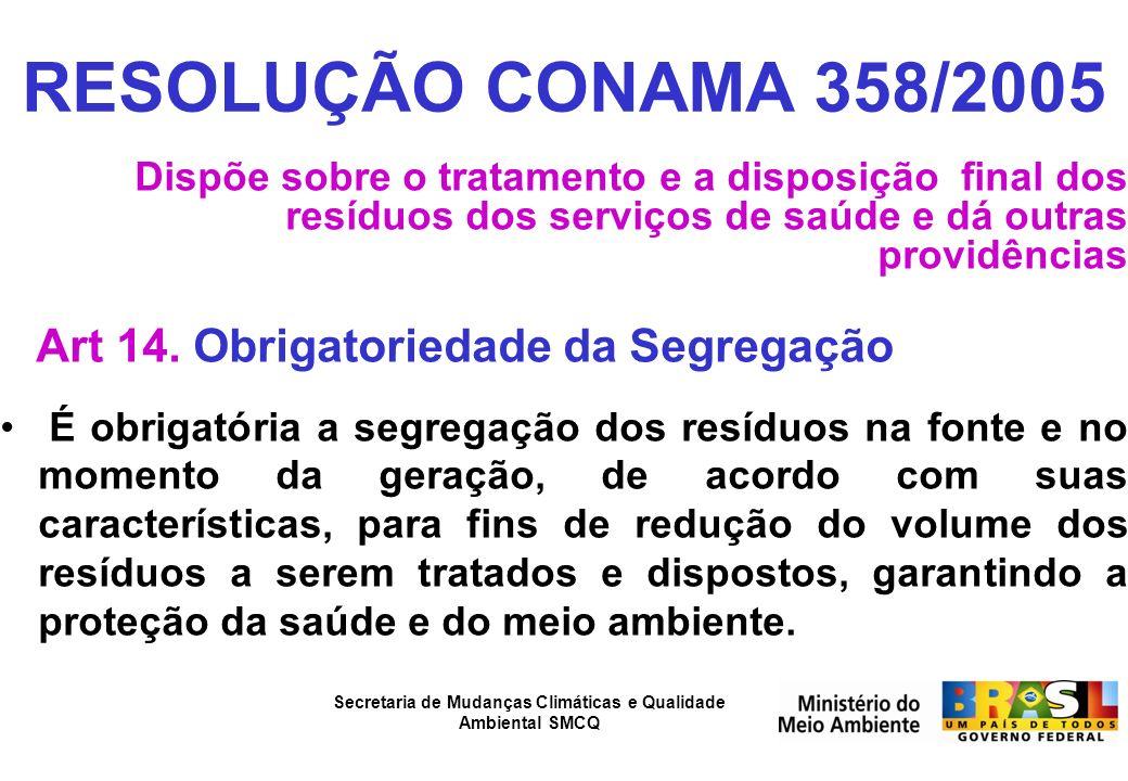 Secretaria de Mudanças Climáticas e Qualidade Ambiental SMCQ RESOLUÇÃO CONAMA 358/2005 Dispõe sobre o tratamento e a disposição final dos resíduos dos
