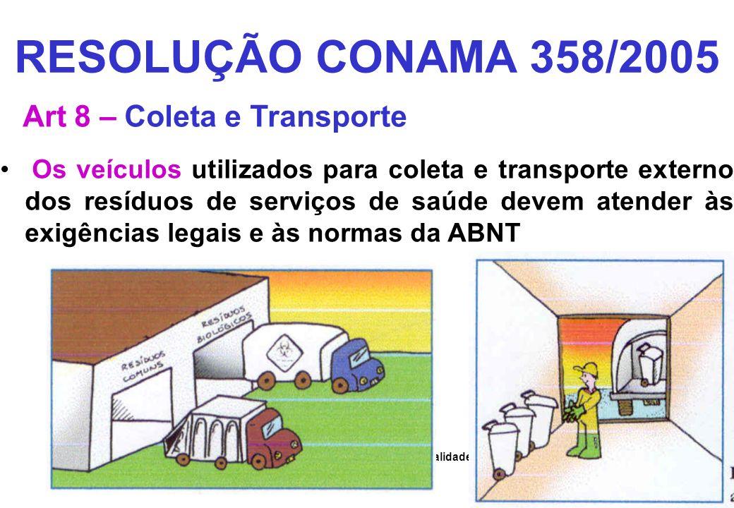 Secretaria de Mudanças Climáticas e Qualidade Ambiental SMCQ RESOLUÇÃO CONAMA 358/2005 Art 8 – Coleta e Transporte Os veículos utilizados para coleta