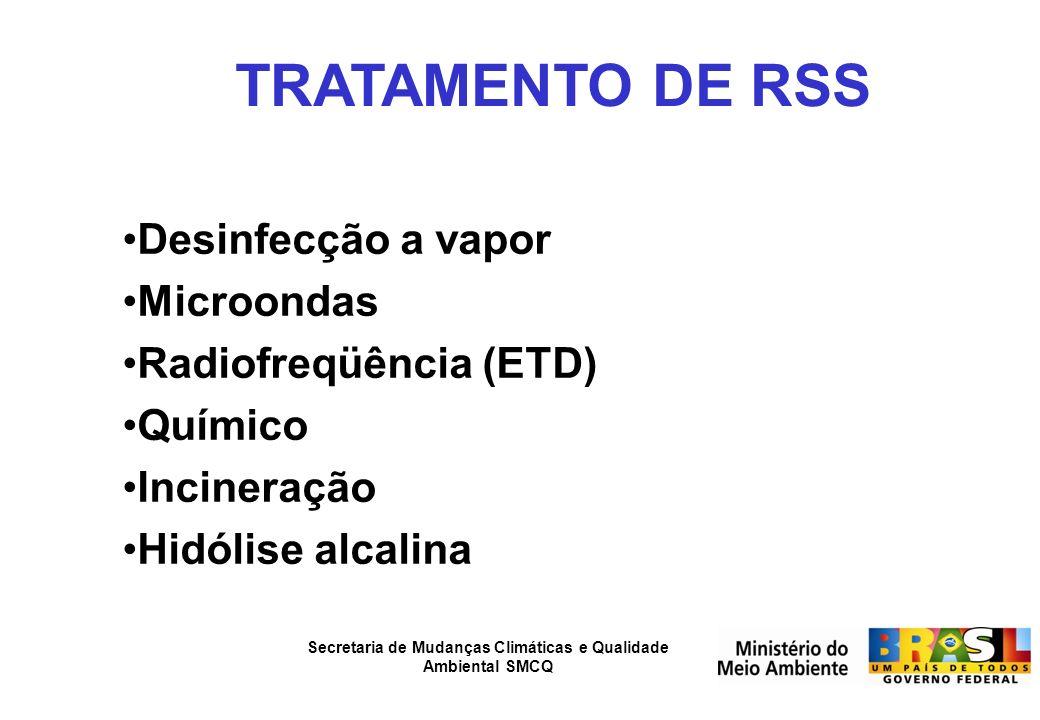 Secretaria de Mudanças Climáticas e Qualidade Ambiental SMCQ TRATAMENTO DE RSS Desinfecção a vapor Microondas Radiofreqüência (ETD) Químico Incineraçã