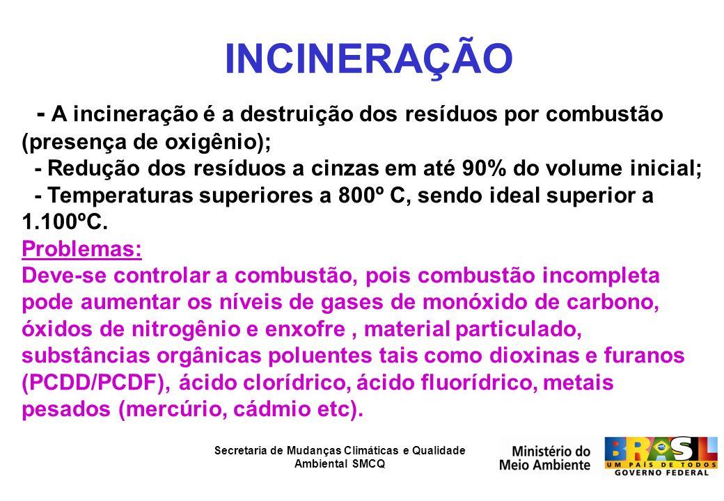 Secretaria de Mudanças Climáticas e Qualidade Ambiental SMCQ INCINERAÇÃO - A incineração é a destruição dos resíduos por combustão (presença de oxigên