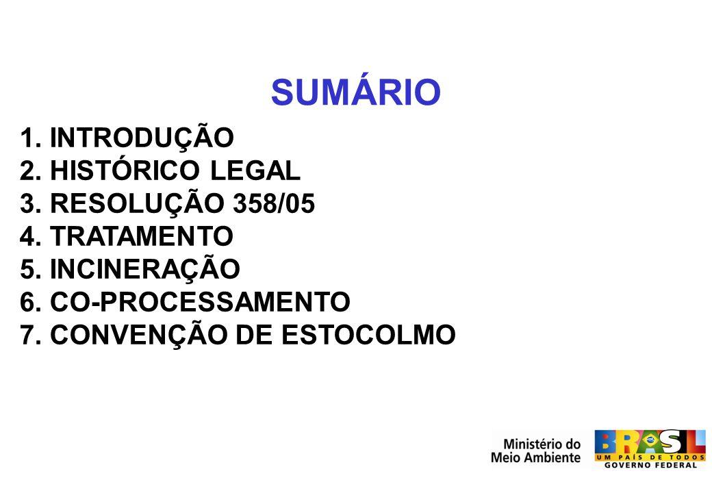 Secretaria de Mudanças Climáticas e Qualidade Ambiental SMCQ SUMÁRIO 1. INTRODUÇÃO 2. HISTÓRICO LEGAL 3. RESOLUÇÃO 358/05 4. TRATAMENTO 5. INCINERAÇÃO