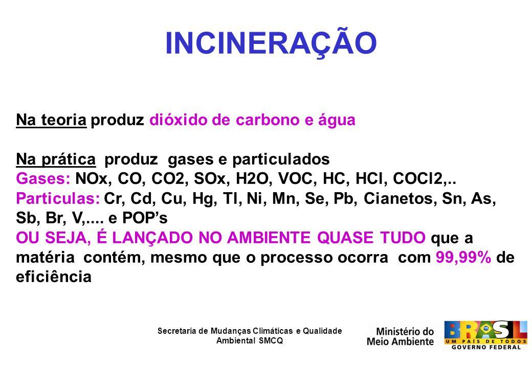 Secretaria de Mudanças Climáticas e Qualidade Ambiental SMCQ INCINERAÇÃO Na teoria produz dióxido de carbono e água Na prática produz gases e particul