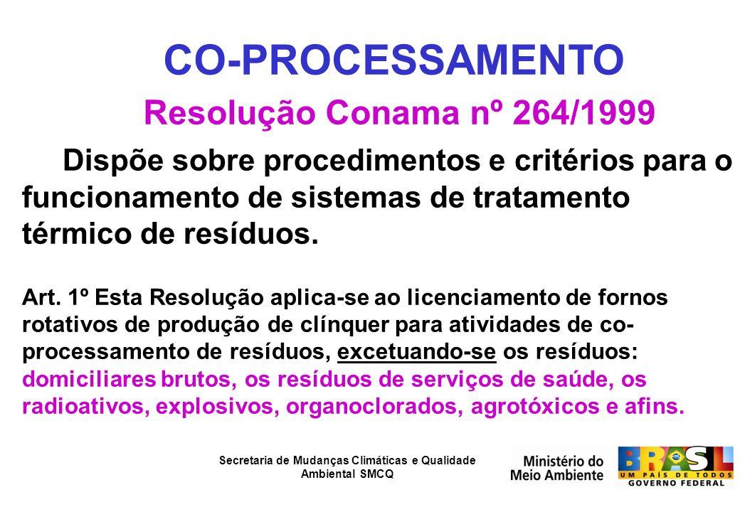 CO-PROCESSAMENTO Resolução Conama nº 264/1999 Dispõe sobre procedimentos e critérios para o funcionamento de sistemas de tratamento térmico de resíduo